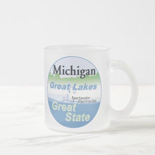 MICHIGAN 10 OZ FROSTED GLASS COFFEE MUG