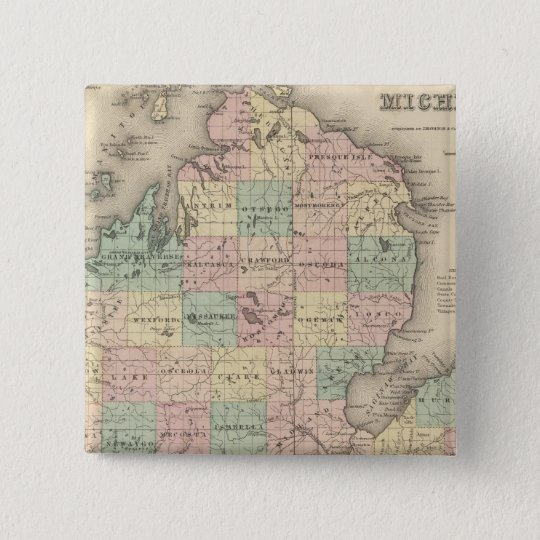 Michigan 3 pinback button