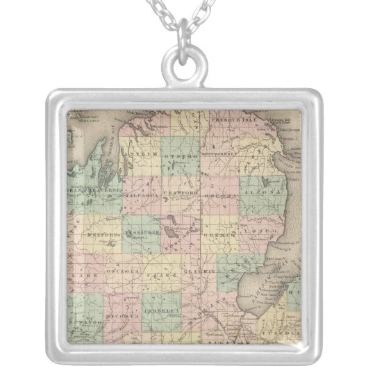 Michigan 3 silver plated necklace