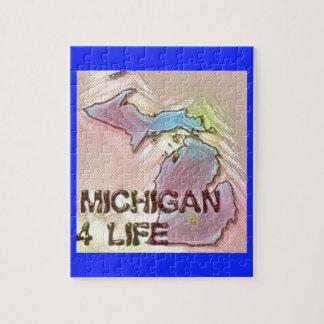 """Michigan 4 Life"" State Map Pride Design Jigsaw Puzzle"