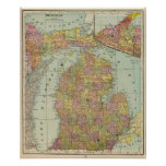 michigan, map, full, color, relief, shown,