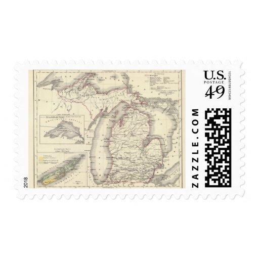Michigan 5 timbres postales