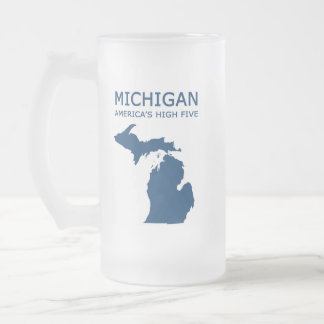 Michigan, America's High Five Frosted Glass Beer Mug