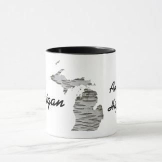 Michigan - America's High Five Mug with Birch Bark