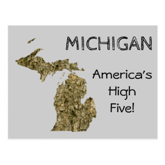 Michigan - America's High Five Postcard
