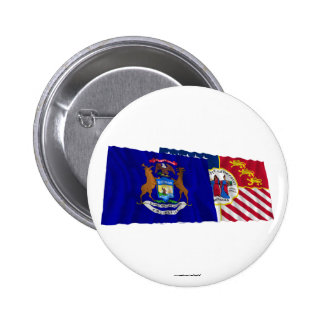 Michigan and Detroit Flags Pinback Buttons