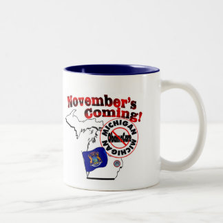 Michigan Anti ObamaCare – November's Coming! Two-Tone Coffee Mug