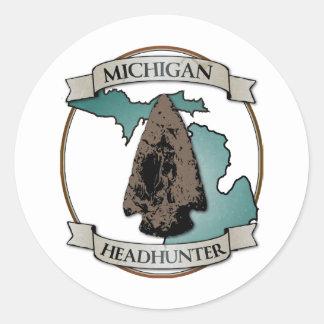 Michigan Arrowhead Hunter Classic Round Sticker