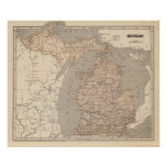 michigan, col, wax, engraved, map, relief, shown,