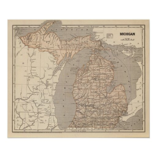 Michigan Atlas Map Poster