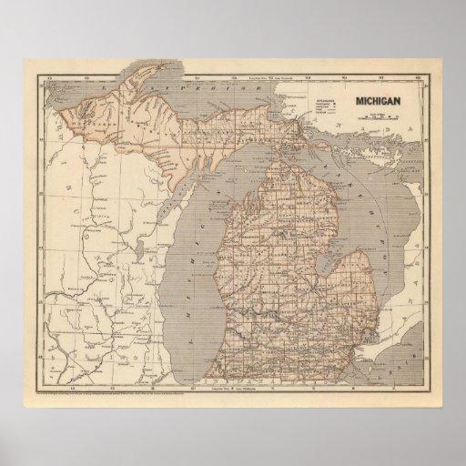 Michigan Atlas Map Print