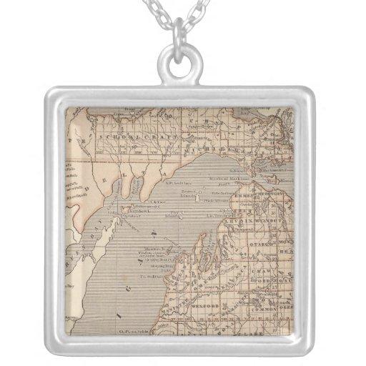 Michigan Atlas Map Square Pendant Necklace