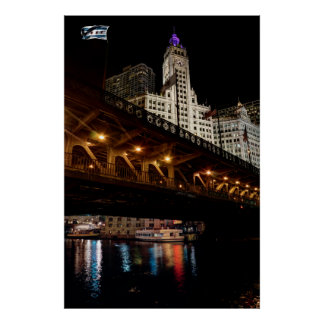 MICHIGAN AVE BRIDGE and WRIGLEY BUILDING - CHICAGO Poster