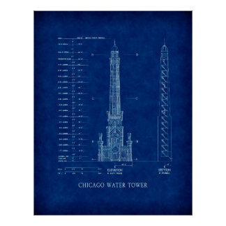 MICHIGAN AVE WATER TOWER BLUEPRINT - CHICAGO POSTER