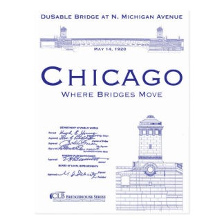 Michigan Avenue engineering drawings 1918 Postcard