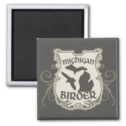 Square Magnet with Michigan Birder design
