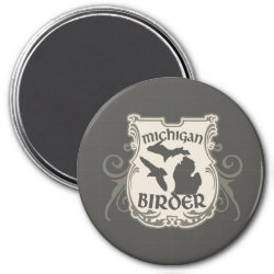 Round Magnet with Michigan Birder design