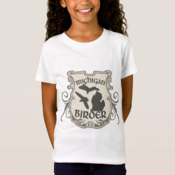 Girls' Fine Jersey T-Shirt with Michigan Birder design