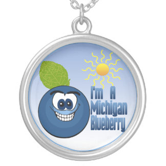Michigan Blueberry Round Pendant Necklace