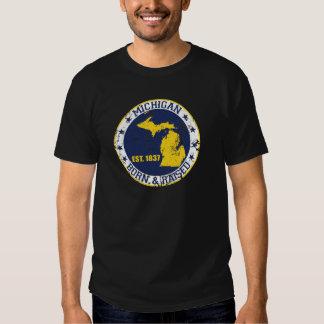 michigan born raised white blue gold T-Shirt