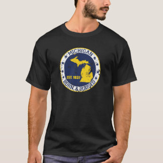 michigan born raised white blue gold T-Shirt