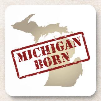 Michigan Born - Stamp on Map Coaster