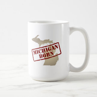 Michigan Born - Stamp on Map Coffee Mug
