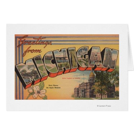 Michigan (Capital del Estado/flor) Tarjeta De Felicitación