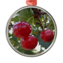 Michigan Cherries Metal Ornament