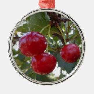 Michigan Cherries Metal Ornament