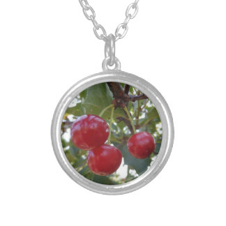 Michigan Cherries Silver Plated Necklace