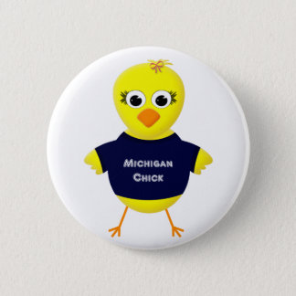 Michigan Chick Cute Cartoon Chicken Button