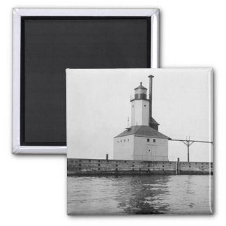 Michigan City East Lighthouse 2 Inch Square Magnet