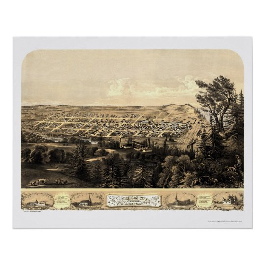 Michigan City, IN Panoramic Map - 1869a Poster