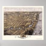 Michigan City, IN Panoramic Map - 1869b Poster