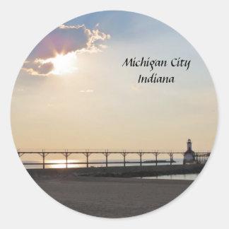 Michigan City in the Evening Classic Round Sticker
