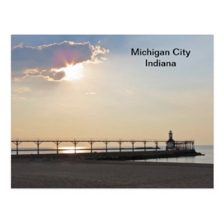 Michigan City in the Evening Post Card