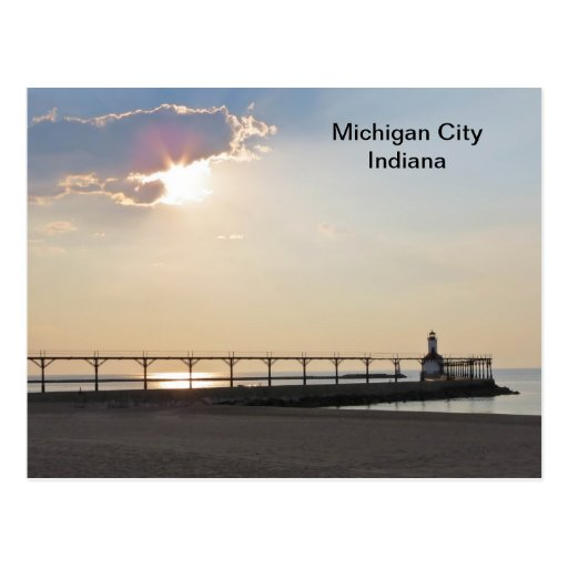 Michigan City in the Evening Postcard