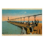 Michigan City, Indiana Fishing Pier Print
