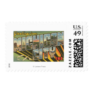 Michigan City, Indiana - Large Letter Scenes Postage Stamp