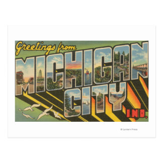 Michigan City, Indiana - Large Letter Scenes Postcard