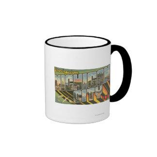 Michigan City, Indiana - Large Letter Scenes Ringer Mug