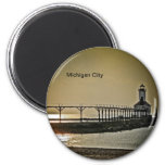 Michigan City Indiana Lighthouse 2 Inch Round Magnet