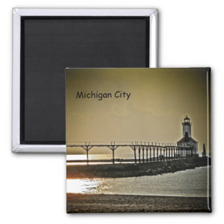 Michigan City Indiana Lighthouse 2 Inch Square Magnet