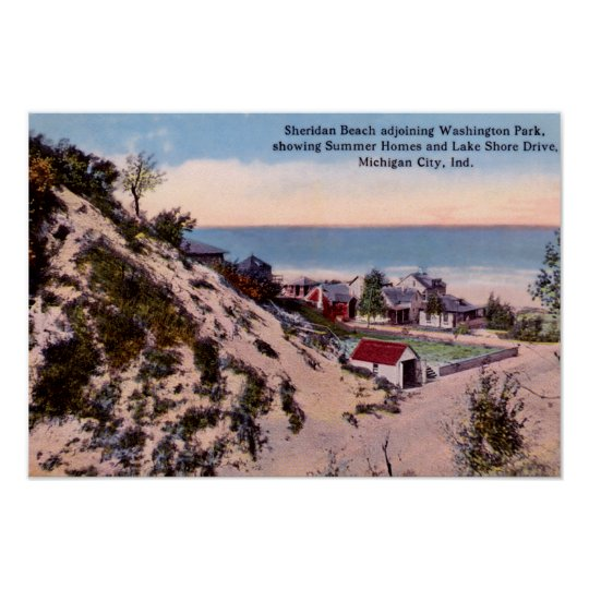 Michigan City Indiana Sheridan Beach Circa 1910 Poster