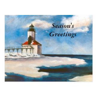 Michigan City Light Season's Greetings Postcard