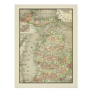 Michigan Colorful Antique Map State & Counties Poster