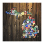 Michigan Counties License Plate Map Canvas 2014 Canvas Print
