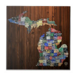 Michigan Counties License Plate Map Ceramic Tile