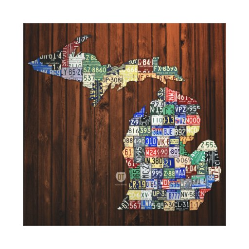 Michigan Counties License Plate Map Wrapped Canvas Canvas Print
